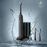 Ovonni Elektrische Schall-Zahnbürste, kabellos, mit Sterilisator / Desinfektion, UV-Lampe + 3 Ersatzköpfe, kabellose Ladung durch Induktion, wasserdicht IPX7, verschiedene Modi