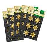 Sigel CS309/5 Weihnachts-Sticker handmade, Sterne gold, 30 Aufkleber - viele Designs
