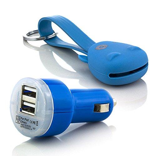C.D.R. Dual Kfz Adapter + Munkees / Monkey Daten/Ladekabel 2in1 2.0 Micro USB 8 Pin High Speed Ladekabel Datenkabel Flat Kabel für Samsung Galaxy S2 (GT-I9100), S2 Plus (GT-I9105P), S3 (GT-I9300), S3 LTE (GT-I9305), S3 Mini (GT-I8190), S3 Neo (GT-I9301), S4 (GT-I9505), S4 Mini (GT-I9195), S4 Active (GT-I9295), S5 mini (SM-G800F), S5 neo (SM-G903F), S6 (SM-G920F), S6 edge (SM-G925F), S6 Edge Plus (G928F), S7, S7 edge in 8 verschiedenen Farben erhältlich (blau)
