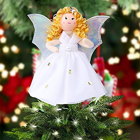 OurWarm Christmas Tree Topper Angel Wings White Christmas Tree Decorations 7 Inch