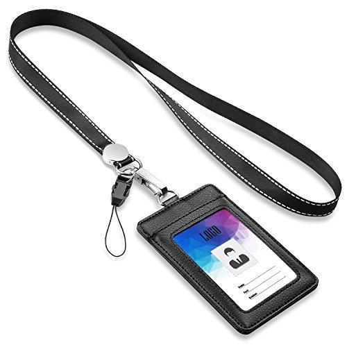 Badge Holder, FZR Legend beidseitigen PU Leder ID Card Badge Holder mit 1ID-Fenster, 1-Slot und 1Stück 53,3cm Robuster Gurt Lanyard/, vertikale Stil-Schwarz
