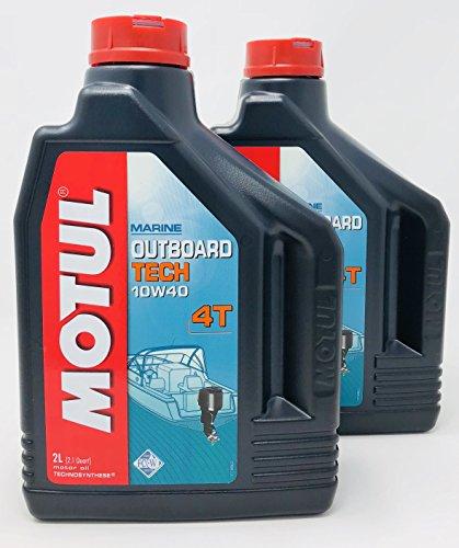 Motul Olio per Motori fuoribordo Outboard Tech 4T 10W-40, 4 Litri (2x2 Lt)