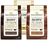 Callebaut, Milk, Dark & White chocolate chips (3 x 1kg...