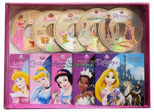 Mon coffret livres CD : La Belle au Bois Dormant ; Cendrillon ; Blanche-Neige et les Sept Nains ; La Princesse et la Grenouille ; Raiponce (5CD audio)