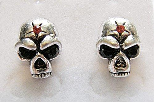 Cornwall Art Prints Rot Star Skull Ohrstecker Ohrringe Gothic Bling Style 1,3cm hoch Skull Bling
