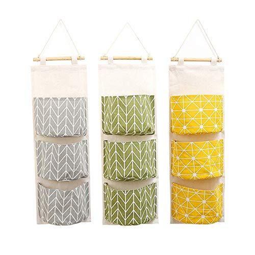 NNDQ 3 Stück Wandbehang Aufbewahrungstasche, über der Tür Schrank wasserdicht Leinen Baumwollgewebe Organizer, mit 3 Taschen, für Badezimmer Schlafzimmer -
