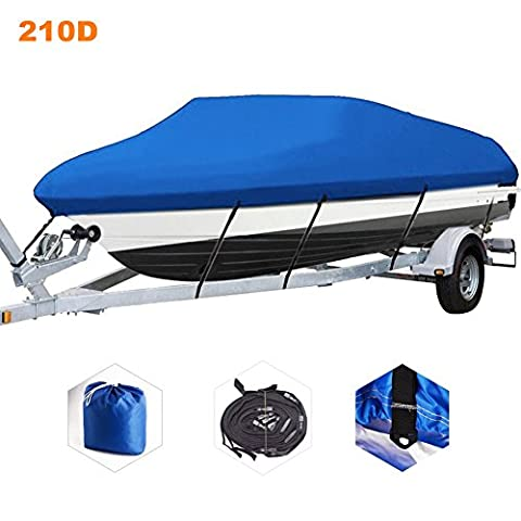 CO_CO Outdoor 210D Polyester Oxford Canvas Trailerable Boat Cover with Nylon Rope Fits V-Hull/Tri-Hull/Runabout/Fishing/SKI Boat ,Full Size Boat Cover, Waterproof ,Blue (20' 22' 106')