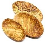 Lashuma Premium 3er Set Dekoschale | Flache Holzschalen aus Olivenholz | edle Handmade ovale Schalen aus Holz