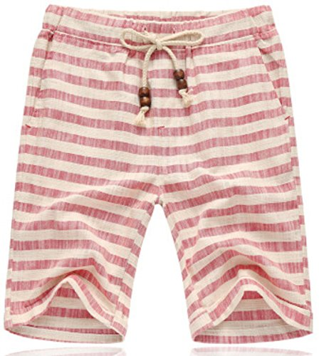 Men's Striped Flax Tide Cotton Beach Shorts red