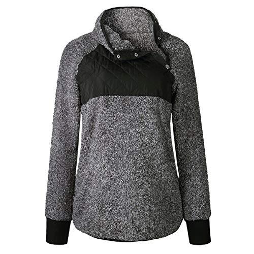 Frauen Langarm Fleece Sweatshirt Oblique Knopf Hals weicher Pullover Mantel Outwear (Color : Black, Size : XL) - Chunky Knit Rollkragen