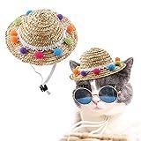 Nitrip Pet Dog Cat Mini breiter Krempe Stroh Sombrero Hut mit kleinen farbigen Kugeln Dekor