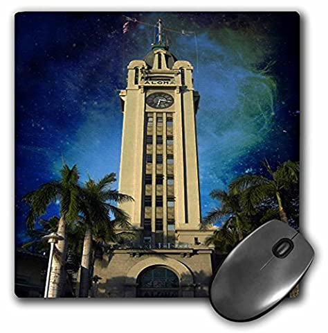 3dRose LLC 8 x 8 x 0.25 Inches Mouse Pad, Aloha Tower at Night in Honolulu (mp_26342_1)