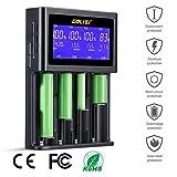 LYPULIGHT Batterieladegerät Akku Ladegerät Universal LCD-Display 4 Schacht Plug Ladestation für NI-MH NiCd A AA AAA SC, 20700, 26650, 18650 Lithium-Ionen-Batterien Mit EU-Adapter