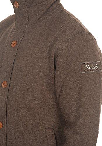 SOLID Tripjacket Herren Sweatjacke Zip-Jacke mit Stehkragen aus hochwertiger Baumwollmischung Coffee Bean Melange