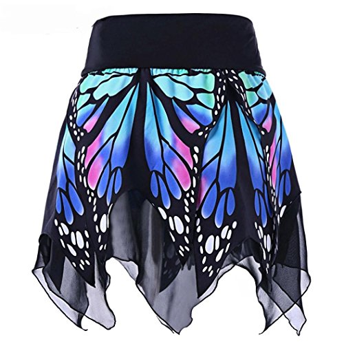 Frauen Schmetterling Mode Hohe Taille Uniform Faltenrock Reizvolle Schulmädchen Skirt Minirock Kurz Schottenkaro Röcke Dessous Kariert Röcke Kleid (Blue, XL(Asian XL=EU L)) ()