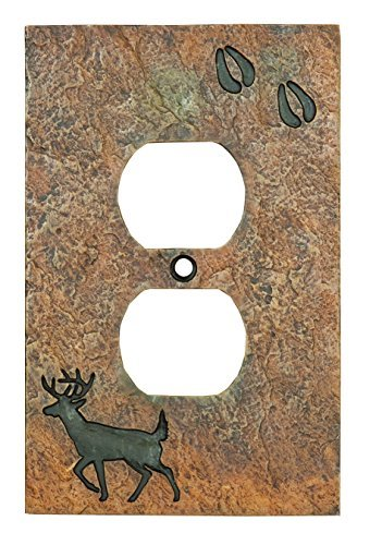 Big Sky Carvers B5050108 Deer with Tracks Single Outlet Cover, , by Big Sky Carvers -