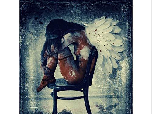 Engel Erwachsenen-stuhl (MMMDAN123 DIY 5D Diamant Stickerei Sexy Nackten Engel Auf Stuhl Diamant Malerei Kreuzstich Strass Dekoration Geschenk 40x50cm)