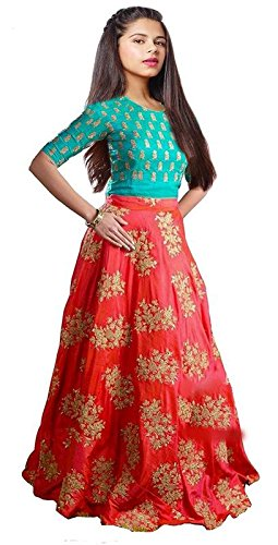 Market Magic World Girl's Red Banglory Silk Semi-Stitched Ethnic Lehenga Choli (Kidswear...