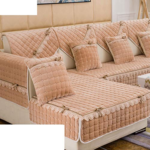 FERZA Home Moderno Sofá de Felpa Simple Cojines Tela de Invierno Espesar Antideslizante Funda de sofá Sofá Toalla-A 110x160cm (43x63 Pulgadas)