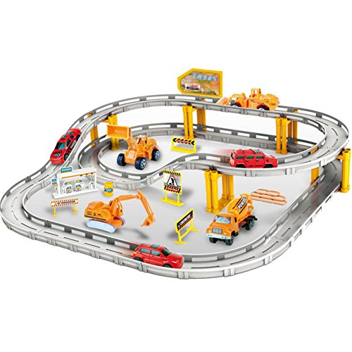 XLM Electronic Racing Rail Car Trucks Railway Set Educational Learning Toy for Kids Boys