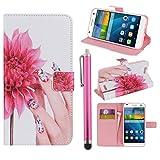 Hunye Custodia bianco rosa PU Pelle Portafoglio per Huawei Ascend G7 Case Donna Mano Fiori Flip Cover con Stilo Penna rosa