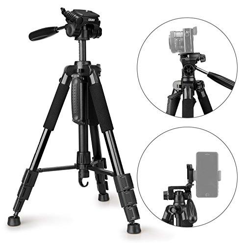 ESDDI Leichtes Dreibein Stativ, Tragbares Kamera Stativ, Smartphone Stativ mit Handy Halterung