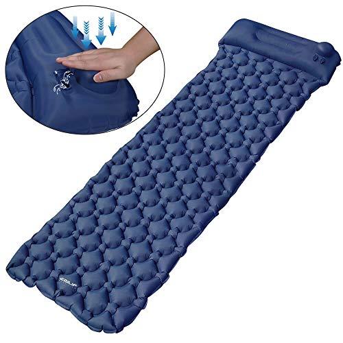 EZILIF Isomatte Selbstaufblasend Kompressionsdesign Camping Schlafmatte Outdoor Aufblasbar Isomatten Ultraleicht Luftmatratzen für Camping, Reise, Wandern, Schwimmbad -