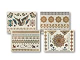METALLIC FLASH TATTOOS 4 BÖGEN SET MANDALA FOREVER ARMBÄNDER SCHMETTERLINGE VOGEL MOTIVEN - Set Ricarda