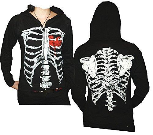 Darkside Skelett + blutendes Herz Girlie Kapuzen Jacke, schwarz, Grösse 40/42 (Blutendes Herz)