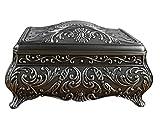 Unendlich U Luxus Synthetik Schmuckkasten Rectangle-Form Lieben Schmuckkästchen für Damen,Reines Zinn-Schmuckstück,Silber-Groß