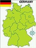 Posterlounge Alu Dibond 100 x 130 cm: Deutsche Bundeslänger und Flagge di Editors Choice