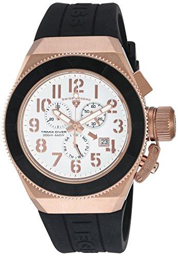 Swiss Legend uomo Trimix Diver Black silicone Band Steel case Swiss Quartz Watch 13844-rg-02-bb