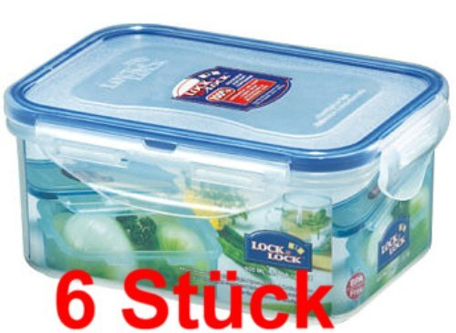 wns-emg-world Lock & Lock Frischhaltedosen Set 6-teilig HPL 811, je 600 ml -