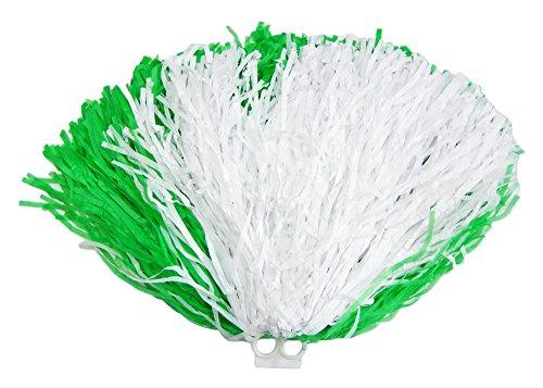 Cheerleader Pompon mit Ringgriff 1 Stück Grün Weiß - Toll zum Kostüm für Sportveranstaltungen, Fasching und (Cheerleader Grün Kostüm)