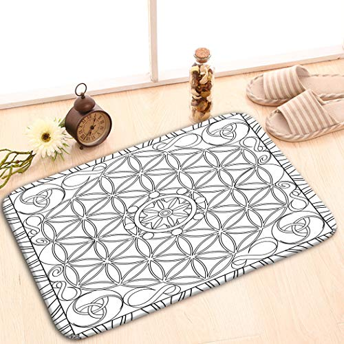 Rectangle Non-Slip Rubber Mat 23.6x15.7 Coloring Page Book Adults Square Format Flower Life m Square Format Matte