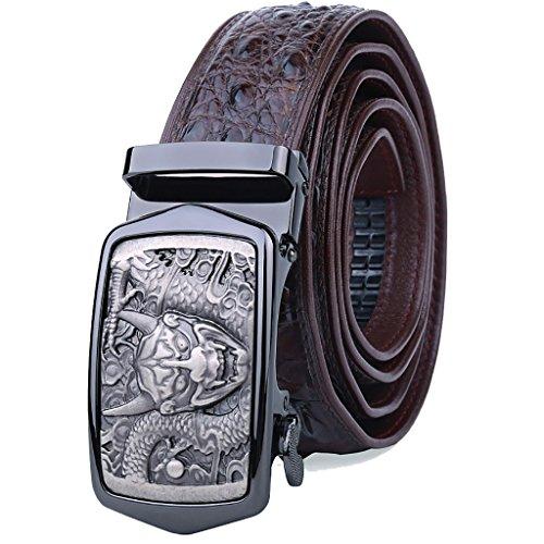 Cinturón de cuero Piel de cocodrilo Macho Buena fortuna Cinturón de hebilla lisa Cinturón de hebilla de cuero para hombre nuevo (Color : Brown, Tamaño : 120cm)