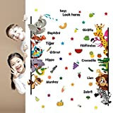 SYGA Removable Cute Cartoon Animals Giraffes Tigers Elephants & Lettering Wall Decal Early Childhood Learing Education Wall Sticker Peel & Stick For Kids Room Door BedRoom StudyRoom