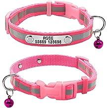 Berry - Collares de nailon reflectante personalizados para mascotas con placa de identificación personalizable para perros cachorros pequeños, XS, S