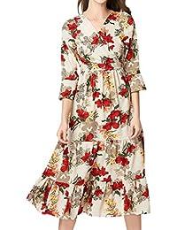 41230c67fbb9 OverDose Soldes Robe Babydoll Longue Imprimé Fleuri Vintage Manches Longues  Été Femme Robes De Plage Chic
