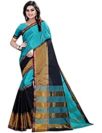 Zypara Women's Sky Blue Cotton Silk Maheshwari Sarees With Blouse Piece (SKYBLUE_39009)