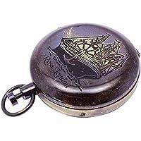 Brass Pocket Compass al aire libre Senderismo navegación náutica de desplazamiento de la cadena magnética