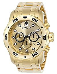 Invicta Pro Diver - Scuba Men's Wrist Watch Stainless Steel Quartz Gold Dial - 0074