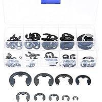 120 piezas 10 Tamaño 304 Acero Inoxidable E-Clip de retención Snap anillo de apertura Circlip Kit 1,5/2 /3/4/5/6/7/8/9/10 mm con caja de plástico