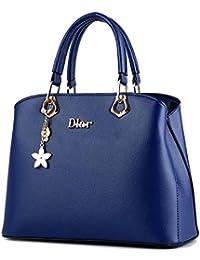 Women Diar Leather Handbags Top Handle Satchel Tote Bags Shoulder Bags BLLUE