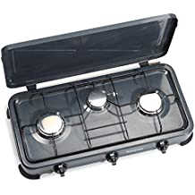 Firefriend Cocina de camping a gas KO-6583 – Seguridad térmica – 3 quemadores – 2 x 1500 y 1 x 1000 W – Gris