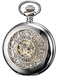 KS KSP048 - Reloj de Bolsillo Hombre Mecánico de Cuerda Manual, Caja Plateada