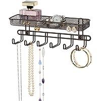 mDesign Práctico organizador de joyas para pared– Con 6 ganchos y 2 compartimentos - Mueble joyero para anillos, gafas, collares, pendientes y demás accesorios – Joyero con ganchos – Color: bronce