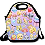 Alien Smile Emoji Emoji World Handy Portable Zipper Lunch Box Lunch Tote Lunch Tote Bags