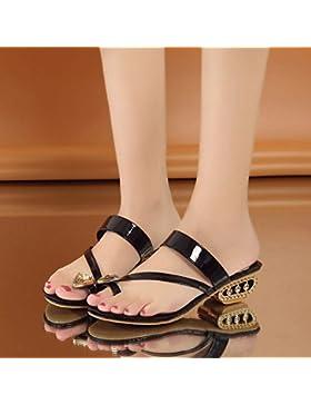Semplice Crystal Sandali Pantofole Prezioso Lady 1-3Cm,Black,Eu39