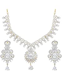 Swasti Jewels American Diamond CZ Zircon Gold Plated Necklace Set For Women